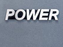 Metal word. Shine stainless steel word POWER on grey metal background Stock Image