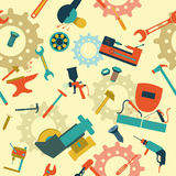 Metal work tools background. Seamless, pattern. Vector illustration Royalty Free Stock Images