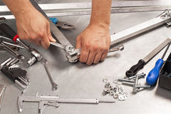Metal work tools, steel parts. Stock Photo