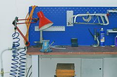 Metal Workbench. In Technology Facility Room royalty free stock photo