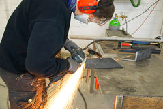 Metal worker grinder Royalty Free Stock Photography