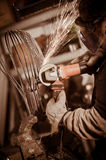 Metal worker Grinding with sparks in workshop Stock Photos