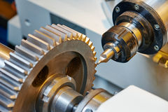 Metal working gear machining Royalty Free Stock Photo