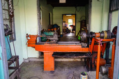 Metal working machine at the old workshop Stock Images