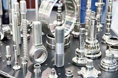 Metal working parts. Samples of metal working parts. stainless steel royalty free stock photography