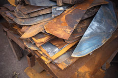 Metal workshop. Metal sheets and pieces in a workshop Royalty Free Stock Images