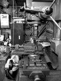 Metal workshop: drill and lathe - v royalty free stock photo