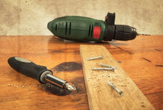 Metal workshop. Electric screwdriver, cordless drill Royalty Free Stock Photos