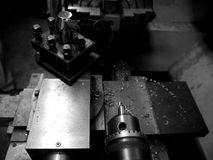 Metal workshop: lathe detail - h Stock Images