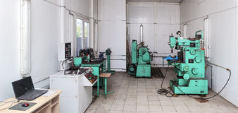 Metal Workshop. Stitched Panorama of car service workshop Stock Images