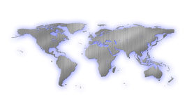 Metal world map Royalty Free Stock Images