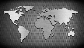 Metal world map on grate comb Royalty Free Stock Photos