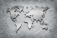 Metal World Map on metal Royalty Free Stock Photos