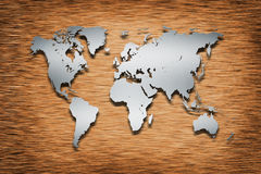 Metal World Map on wood Stock Image