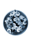 Metal worm screws and shafts with plastic cogwheels and gears in Stock Photos