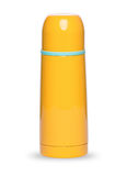 Metal yellow thermos collection isolated on white background Stock Image