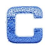 Metal Zeichen u. wässern Sie Tropfen - bezeichnen Sie C mit Buchstaben Stockfoto