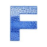 Metal Zeichen u. wässern Sie Tropfen - bezeichnen Sie F mit Buchstaben Lizenzfreie Stockfotos