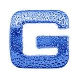 Metal Zeichen u. wässern Sie Tropfen - bezeichnen Sie G mit Buchstaben Stockfoto