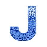 Metal Zeichen u. wässern Sie Tropfen - bezeichnen Sie J mit Buchstaben Lizenzfreie Stockbilder