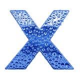 Metal Zeichen u. wässern Sie Tropfen - bezeichnen Sie X mit Buchstaben Lizenzfreie Stockfotos