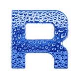 Metal Zeichen u. wässern Sie Tropfen - bezeichnen Sie R mit Buchstaben Stockfotos