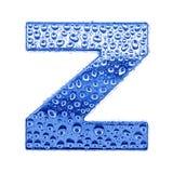Metal Zeichen u. wässern Sie Tropfen - bezeichnen Sie Z mit Buchstaben Lizenzfreie Stockbilder