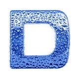 Metal Zeichen u. wässern Sie Tropfen - bezeichnen Sie D mit Buchstaben Stockfotografie