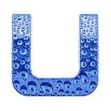 Metal Zeichen u. wässern Sie Tropfen - bezeichnen Sie U mit Buchstaben Stockbild