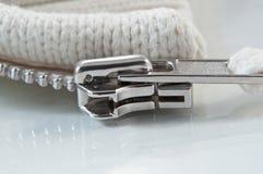 Metal zip slider Stock Photos