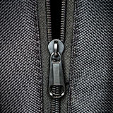 Metal zipper on black synthetic fabric Royalty Free Stock Photo