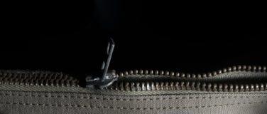 Metal zipper closing Stock Photo