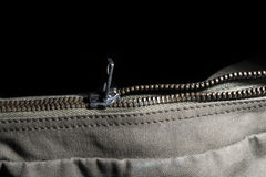 Metal zipper closing Royalty Free Stock Images