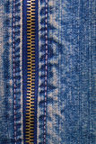 Metal zipper with denim Stock Photo