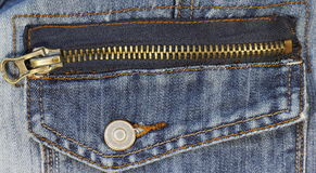 Metal zipper on jeans Stock Image