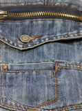 Metal zipper on jeans Stock Photo