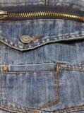 Metal zipper on jeans Stock Photo