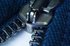 Zipper opening in the foreground royalty free stock photo