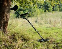 Metaldetector -equipment of treasure hunter. Metaldetector in the forest,equipment of treasure hunter Royalty Free Stock Image