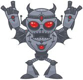 Metalhead - Heavy Metal Robot. Vector cartoon illustration of a red eyed heavy metal loving robot with devil horn hand gestures vector illustration