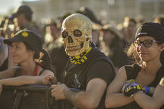 Metalhead with skull mask in Hellfest festival 2017 Royalty Free Stock Photography