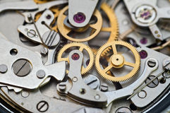 Metali Cogwheels w Clockwork, pojęcie praca zespołowa Zdjęcie Royalty Free