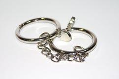 Metali kajdanki na białym tle Fotografia Royalty Free
