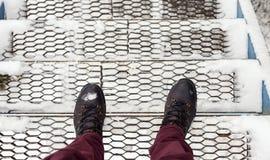 Metali schodki pod śniegiem Obrazy Royalty Free
