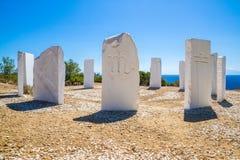 Metalia mines. Sculptures, Thassos Greece stock photos