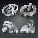 Metalic 3D Symbols Set Stock Photography