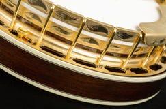 Metalic banjo isolated on black background Stock Image