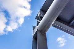 Metalic beam structure of a building stock photo