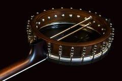 Metalic black banjo isolated on black background Stock Image
