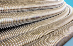 Metalic corrugated tubes. Royalty Free Stock Image